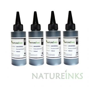 4 Natureinks Premium Black Dye Based refill Bottles 400ml
